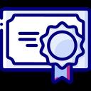 Icône diplôme d'une certification bleu et violette