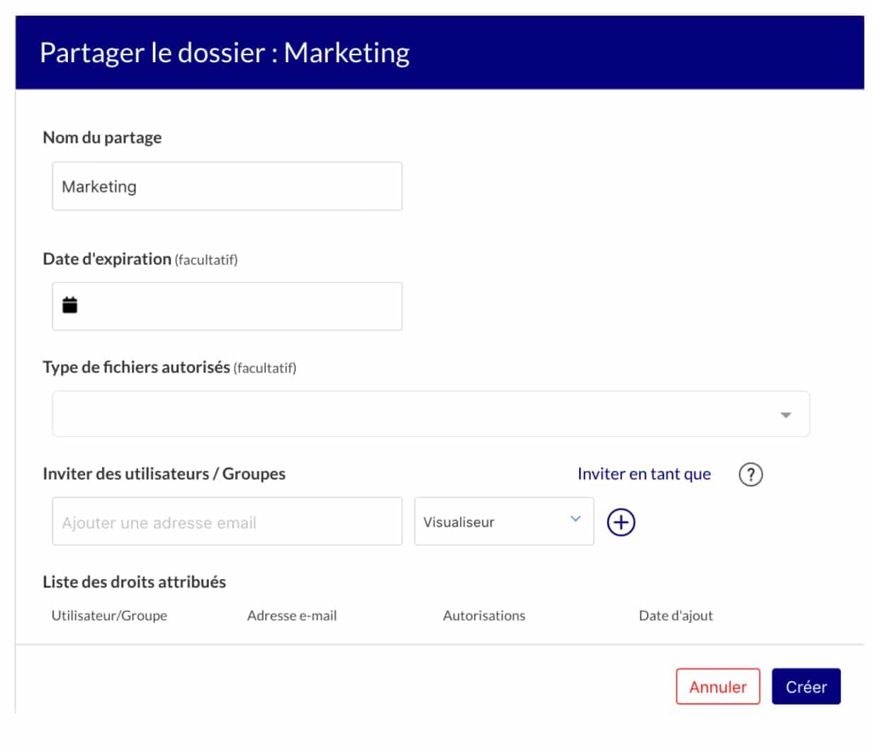 Visuel de l'interface de partage de fichiers