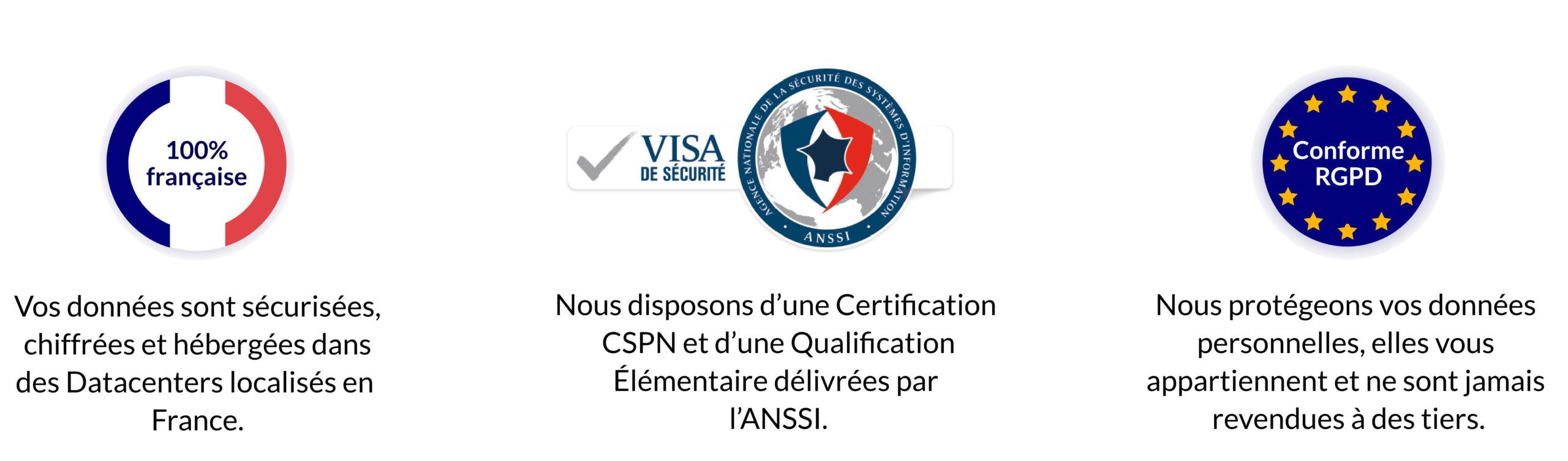 Trois Logos : 100% français, le visa de sécurité et RGPD